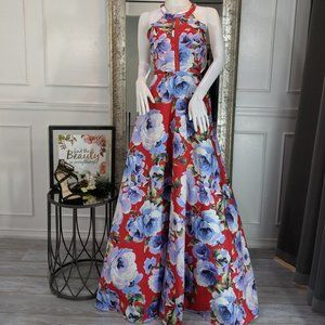 Red Floral Formal Evening Prom Dress Gown